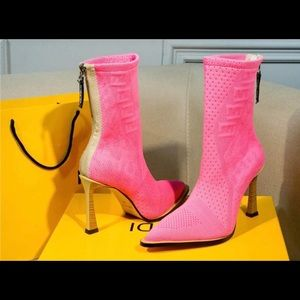 Pink Designer leather boots